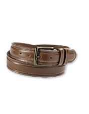 Our handsome brown leather belt can be worn for any occasion. Made in USA.