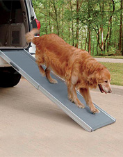 Our Super-Lightweight Pet Ramp for dogs supports up to 400 lbs. without bending.