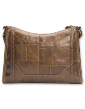 The less-is-more Frye Melissa Zip Crossbody Bag showcases artful leather patchwork.