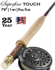 """Superfine Touch 1-weight 7'6"""" Fly Rod—Full Flex"""
