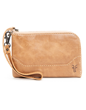 Organize your small essentials in the Frye Melissa Wristlet, a classic in antiqued leather.