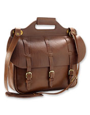 Genuine steerhide leather gives this distinctive saddle briefcase a classic charm.