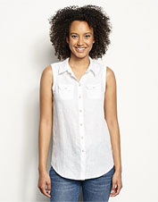 Reach for our feminine Lightweight Linen Sleeveless Shirt in the season's most punishing heat.