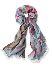 Our Exploded Floral Scarf boasts a distinctive woven jacquard in a lightweight linen blend.