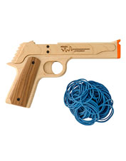 This clever rubber band pistol and army men set promises hours of old-fashioned fun.