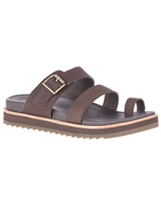 Exceptional comfort elevates the Merrell Juno leather buckle slides above ordinary sandals.