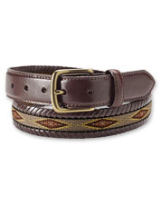 Rugged, handsome latigo leather sets off the woven Navajo motif in our Laced Ribbon Belt.