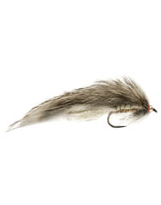 For lifelike action and subtle flash, reach for this stealthy Barbless Roza's Gray Zonker fly.