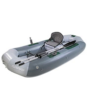 Lightweight but rugged, the inflatable Outcast Clearwater fishing raft is ready for action.