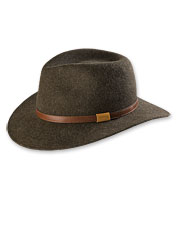 This wool felt hat is perfect for protecting against cool, fall weather. Made in USA.