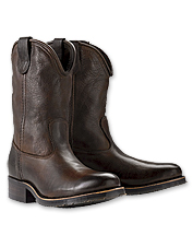 You'll love the vintage, cowboy style of these handsome leather roper boots. Made in USA.