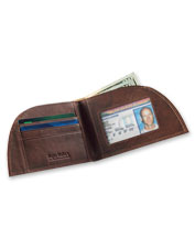 This clever leather wallet is designed to tuck neatly within a front pocket.