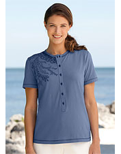 Short-Sleeved Henley with Placement Print