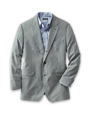 This travel-friendly gingham sport coat pairs warm-weather wear with wrinkle-free ease.