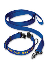 Our personalized dog collar with leash offers durability and added safety. Made in USA.
