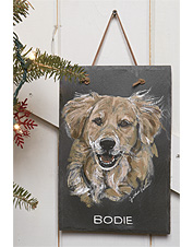 A hand-painted personalized pet portrait on slate makes a memorable tribute to your friend.