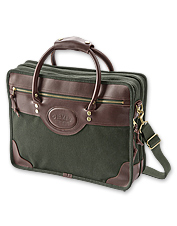 Familiar green canvas and leather betray our well-appointed briefcase as a Battenkill.