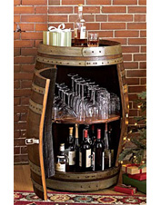 Add a vintner's touch to your gathering space with this rustic handcrafted Wine Barrel Bar.