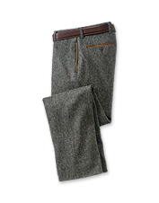 These plain front tweed pants incorporate all the details you require.
