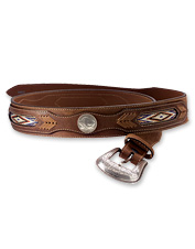 Well-worn authentic buffalo nickels adorn this attractive and unique leather belt.