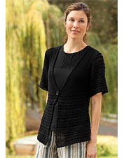 Elbow-Sleeve Black Cardigan