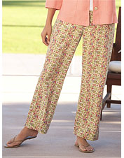 Coral-Floral Easy-Fitting Cotton Pants
