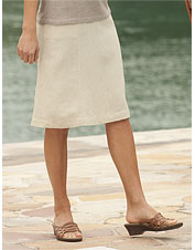 Knit-Waist Drawstring Shoreline Linen Skirt