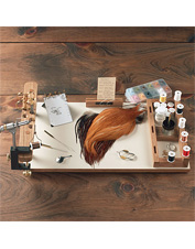 A portable fly-tying caddy with a place for everything. Made in USA.