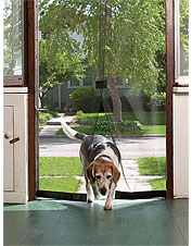 This instant screen door installs easily and shuts automatically with a magnetic closure.