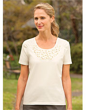 Beaded-and-Ruched Detail Tee