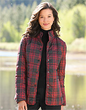 Red-Plaid Quilted Jacket