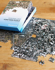 See how well you know your neighborhood with this custom aerial hometown puzzle.