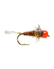 These attention getting fluorescent bead head nymphs will turn tails in fast water.