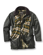 You appreciate the versatility of this medium-weight Barbour waxed jacket.