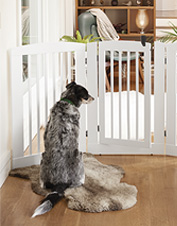 Our freestanding three-panel dog gate features a convenient walk-through door.