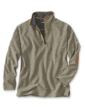 You'll appreciate the rugged details of our quarter-zip tweed sweatshirt.