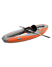 This kayak boat is an inflatable one-man craft with a stiff hull that lets you stand as you fish.