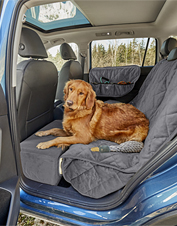 Car trips are a breeze with our travel accessories for dogs. Made in USA.