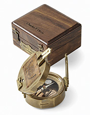 Celebrate milestones and uncharted territory with a brass compass in a personalized gift box.