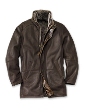Experience the luxurious quality of shearling in our leather coat for men. Made in USA.