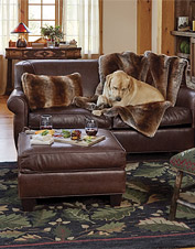 Lustrous Orvis Leather Furniture features soft, supple Italian leather and a timeless design.