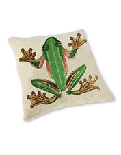 Tropical Frog Hooked Pillow