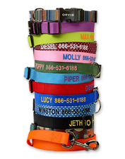 A side-release buckle ensures our personalized dog collar clips securely, but releases easily.
